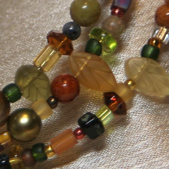 Earthy Autumn Beaded Bangle Wrap Bracelet in  Woodland Colors,  Medium - Large
