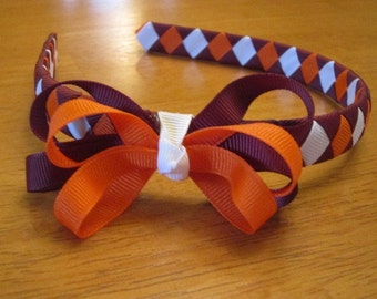 Virginia Tech headband with bow