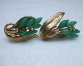 Vintage Green Glass Pat Signed Clip On Earrings