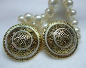 Vintage Round and enamel disc Earrings-signed spain