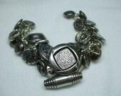 Vintage Beautiful Unique Hand Made Metal Vintage Button Bracelet