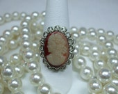 Vintage  Early 1900 Glass Czech Cameo Ring