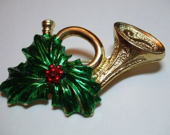 Vintage Gerrys French Horn Holiday Signed Brooch