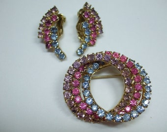 Vintage  Rhinestone Stunning Tri Color Demi Set Earrings and Brooch