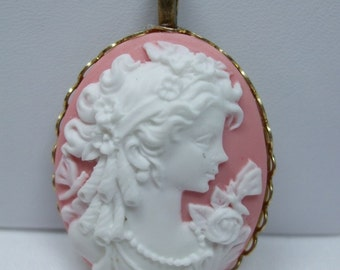 Vintage Grecian Pink and White Cameo Pendant Necklace Reproduction