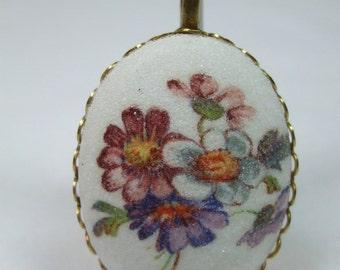 Vintage Cameo Necklace  Floral Cabochon Pendant Reproduction