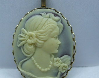 Vintage   Cameo Necklace  Acrylic  Cream and Brown  Pendant Necklace Reproduction