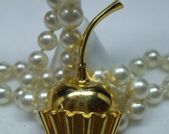 Vintage Goldtone Chocolate Covered Cherry brooch