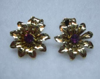 Vintage Purple Rhinestone Floral Earrings
