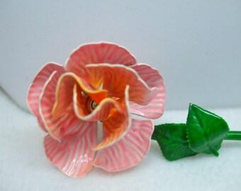 Vintage Rose Brooch Bright Enamel Colors