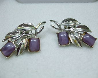 Vintage Signed Purple  Moonglow Square Screw On Earrings-signed