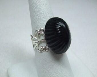 Vintage Silver Filigree Glass Black Cabchon Adjustable
