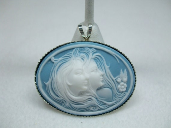 Vintage Cameo Necklace  Pendant  Sisters or Friends or Mother and Daughter Available in Several Colors Reproduction