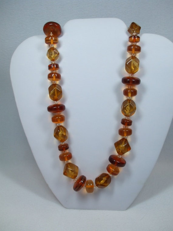 "Vintage amber large lucite bead butterscotch with heavy gold flower clasp 24"" Necklace"