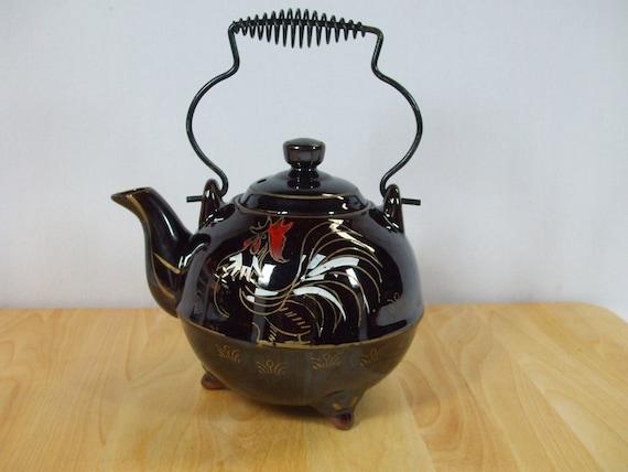 Vintage Tea Pot Black Hand Painted Tea Kettle signed Royal Sealy Japan