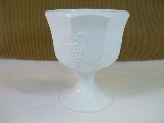 Vintage Milk Glass Grape Pattern Pedestal Planter
