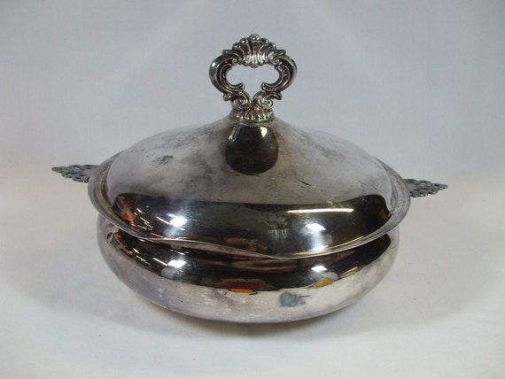Vintage Sheffield Silver Casserole Server round two piece