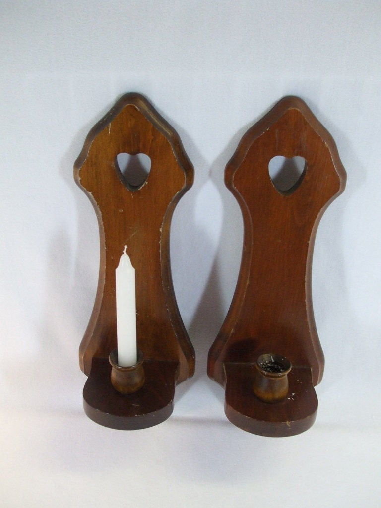 Vintage Wood Wall Candle Sconces set of two by trappedintheattic