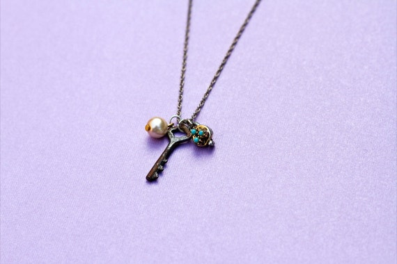 Vintage pewter key, turquoise and pearl charm necklace