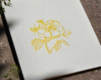 yellow wild-rose letterpress card, pack of 10