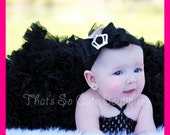 Posh Ruffle Ribbon Black Crown Princess Bow Headband- Great for Babies, Toddlers, Girls and Teens