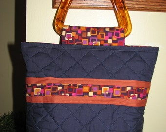 CLEARANCE SALE - 50% OFF -  Boutique Bag... Quilted Purse / Handbag - Retro Squares on Navy Blue
