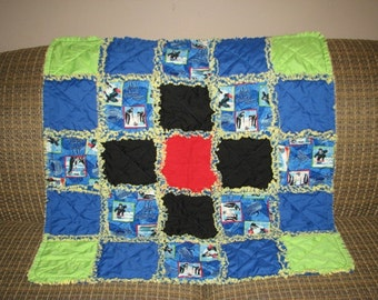 SAVE 30% SALE - Curling - baby Rag Quilt / Mini Rag Quilt - Ready to Ship