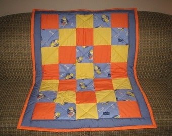 SAVE 30% SALE - Bob the Builder - Traditional Style Toddler Quilt - Ready to Ship