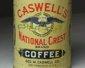 Authentic Antique CASWELL National Crest Brand Coffee Tin from 1920s