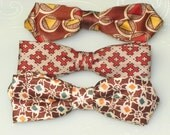 """Set of 3 -- Time for Fall -- Young Man's - Boys -- Bow Ties from 1960s -- SKINNY and """"in"""" now I understand"""
