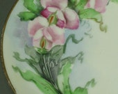 RESERVED -- please do not purchase -- Sweet Pea plates -- rare flower design -- 6 inches and hand painted
