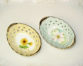 HAND Painted and signed porcelain ring holders -- LACE Design and Gold Leafed - SET of 2