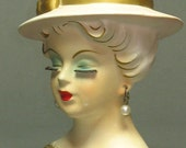 Reserved -- please do not purchase --- 1950s Lady Head vase -- standard size at 4 inches tall