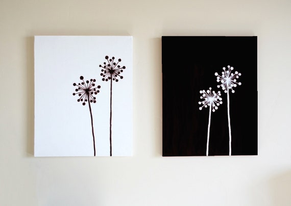 Reserve listing inverse dandelion paintings any color for 3 piece painting ideas