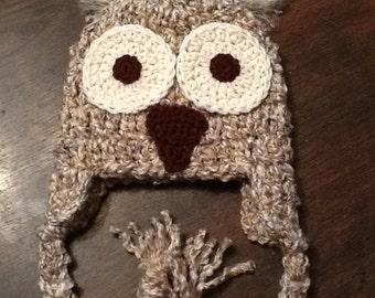 Crochet Owl Beanie (6-12 mo.)
