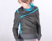 Dark grey, turquoise asymmetrical sweatshirt, Cozy sweatshirt, Womens sweater (M013N1)