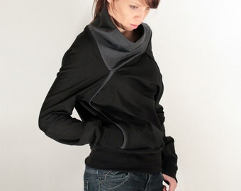 Drapey sweatshirt with geometric collar, Asymmetrical sweatshirt, Cozy sweatshirt (M012N1)