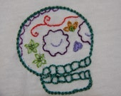 Hand Embroidered Skull T-shirt embellished with Swarovski Crystals Size Medium