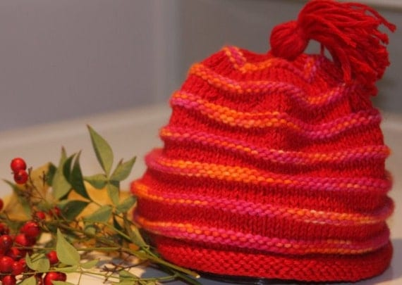 Hand Knit Red and Multicolored Striped Childs Hat