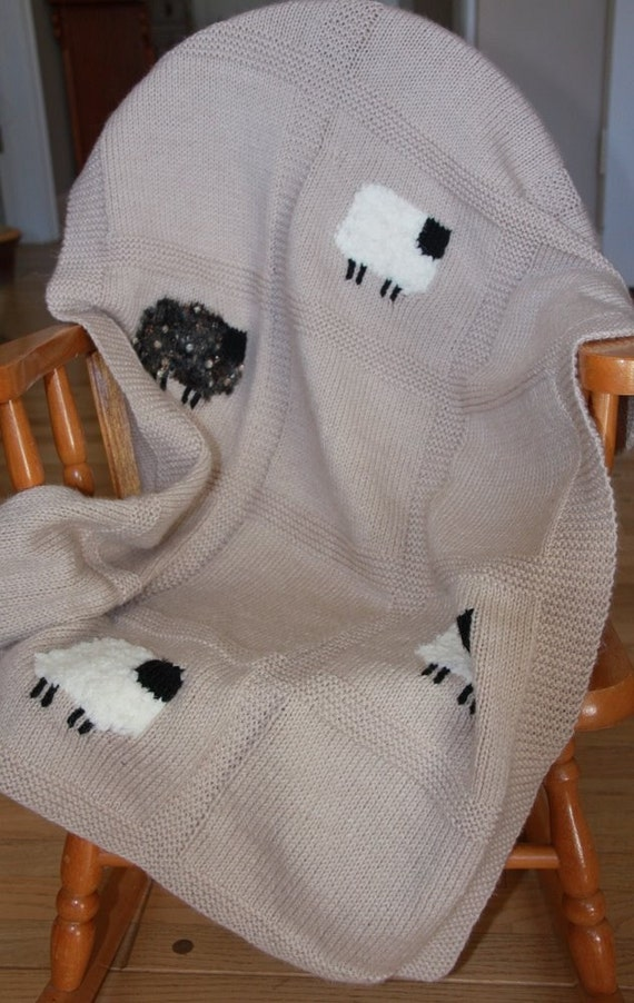 Hand Knit Sheep Baby Blanket