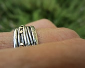 Ring Size 8.5 - Sterling Silver And 14K Gold Handmde from Israel