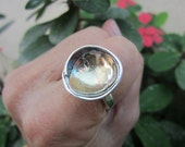 Ring Size 7.5 - 8 - Sterling Silver And Gold Handmade From Israel