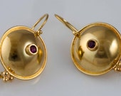 Ruby Hang Earrings - 18K Gold Set With Round Ruby Handmade From Israel