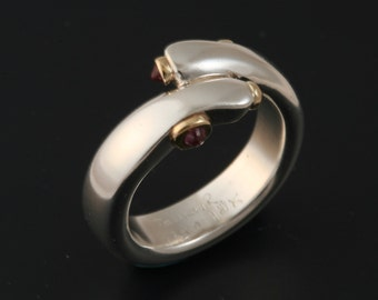 Pinky Ring Size 6 - Sterling Silver  with 2 Rubies and 2 Sapphires Set in 18k Gold Handmade From Israel