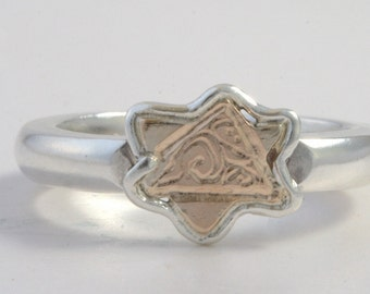 Magen David - Ring Size 6.5  - Sterling Silver And Gold Handmade From Israel