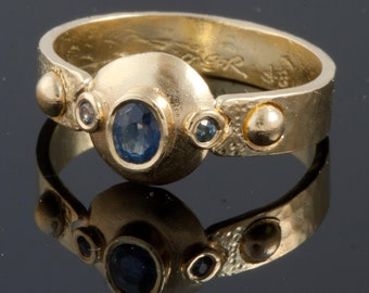 Sapphire Ring - 18K Gold Set With Oval Sapphire and 2 round small sapphires, Handmade From Israel