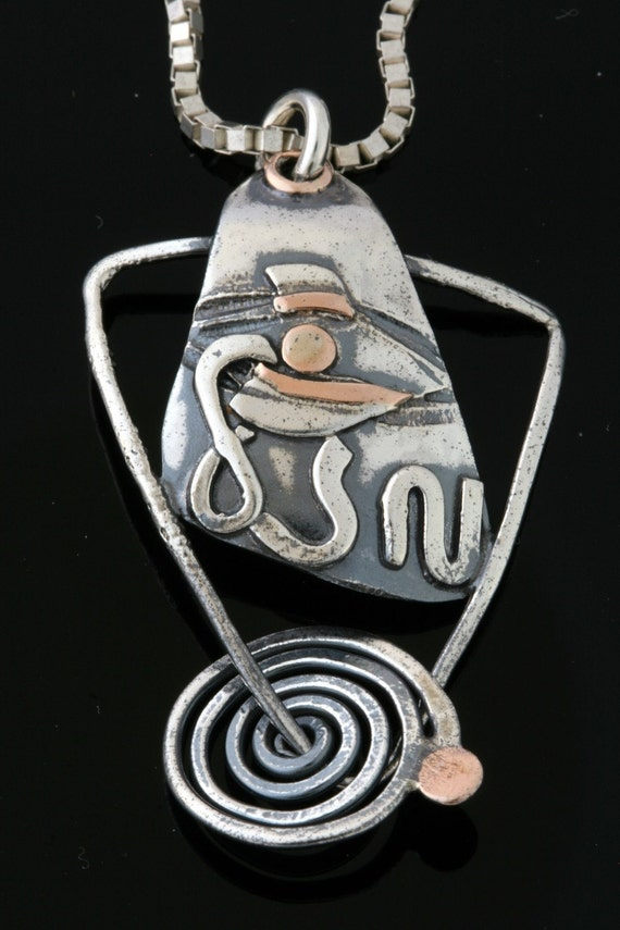 MAZAL  - Luck Charm - Tears Of Joy -  Sterling Silver And Gold Pendant Handmade From Israel