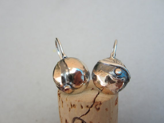 Asymmetrical Hang Earrings - Sterling Silver And Gold Handmade From Israel