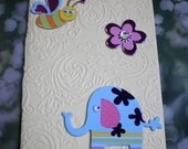 Cream Notebook with Elephant, Bee and Flower