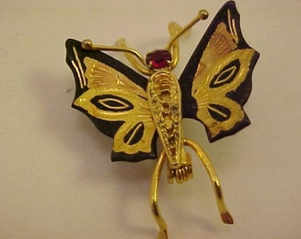 Vintage Goldtone and Black Butterfly Pin